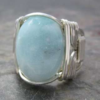 ite Cabochon Sterling Silver Wire Wrapped Ring ANY size
