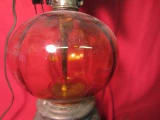 VINTAGE AMERICAN EAGLE LAMP W AMBER GLASS 32 X 6.5