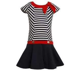 Bonnie Jean Girls Spring Summer Navy White Red Nautical Sailor Dress 6