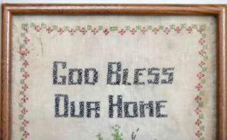 1920s antique CROSS STITCH SAMPLER w/FRAME ~GOD BLESS