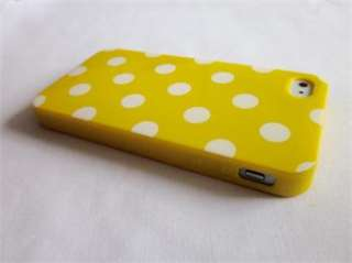 Blue Bottom White Polka Dots TPU Soft Shell Case Cover for iPhone 4 4S