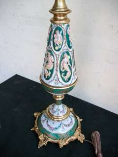 Great Antique French porcelain & bronze lamp # 06885