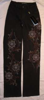 Brazil RoXX Jeans Brown with Blue & Black Floral Design 7W 4056P