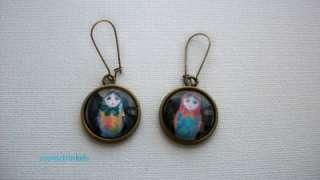Babushka Russian Doll Picture Bronze Tone Earrings