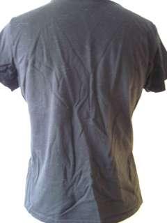 Sport Black 100% Cotton Jersey Knit Vee Neck Tee Shirt   Medium