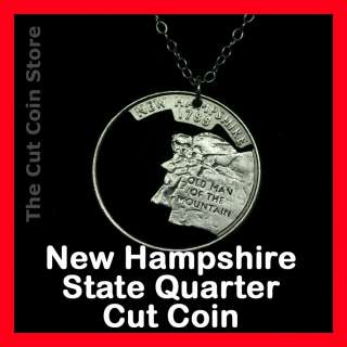 ¢ NH Quarter Cut Coin Necklace Granite Live Free or Die State