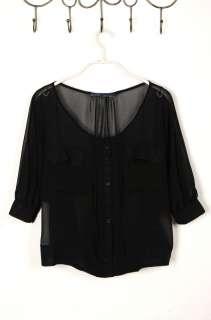 Fashion Womens Chiffon Shirt Button T Shirt Loose Tops Chiffon Blouses