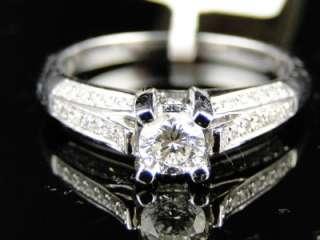 14K WOMENS WHITE GOLD DIAMOND ROUND CUT SOLITAIRE ENGAGEMENT WEDDING