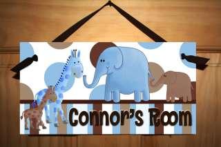 Blue Jungle Animals Boys Bedroom Nursery Art Door Sign