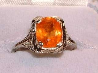 ANTIQUE 14K WHITE GOLD FILIGREE PADPARADCHA SAPPHIRE  ring