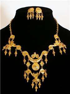 VINTAGE VENDOME ROYAL GOLD VICTORIAN REVIVAL DEMI PARURE necklace
