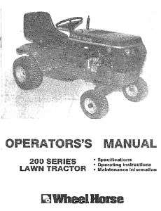Wheel Horse 200 Series Lawn Tractor Manual Models