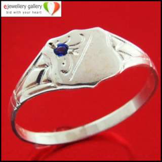 925 SOLID STERLING SILVER BOYS SAPPHIRE SIGNET RING H