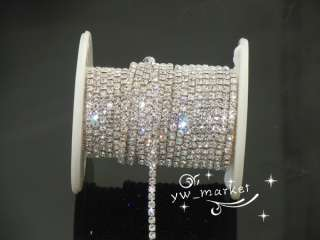 888 clear crystal rhinestone close chain trims silver 8 meter SS8.5