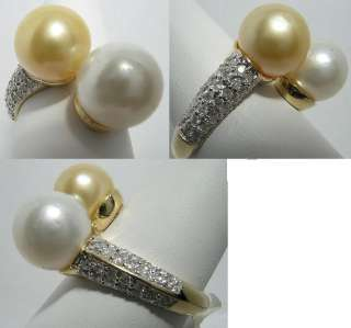 South Sea White & Golden Pearl Ring 14K Yellow Gold Diamond 0.56ct