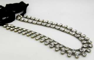 Auth J. Crew Satin Ribbon Two Row Crystal Necklace