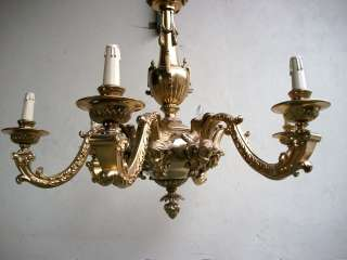 Nice antique French gilded bronze chandelier # 06466
