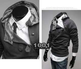 New Men Slim Sexy Fit Oblique Zip Faux Rabbit Fur Hoody Jacket Coat
