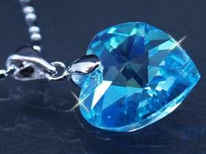 Adorned with SWAROVSKI crystal Heart Aquamarine Chain