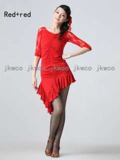 Woman latin ballroom dance dress top + skirt salsa chacha cocktail