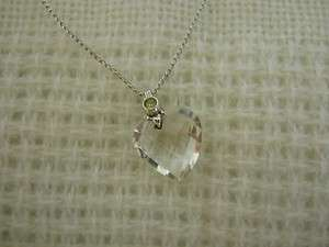 Sterling Silver Clear CRYSTAL Solitaire HEART & Rhinestone Necklace