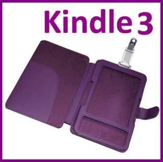 Leather Case Wallet Cover For  Kindle 3 3G With LED Light