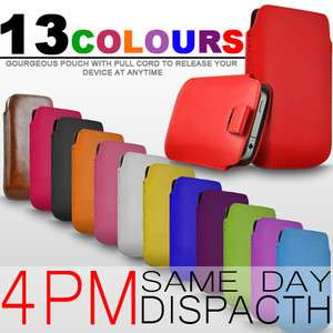 Premium PU Leather Pull Tab Pouch Case Cover For Nokia Asha 202
