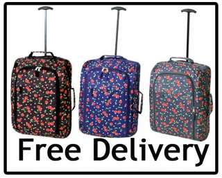 Cabin Approved Carry On Hand Luggage Cherry Suitcase Travel Bag