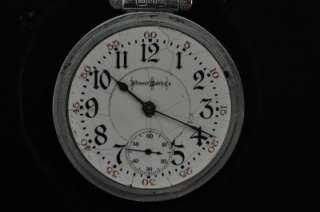 VINTAGE 18 SIZE BUNN SPECIAL 21J POCKET WATCH GOTHIC DIAL KEEPING TIME