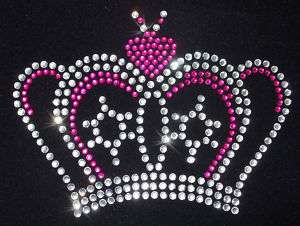 CROWN 1 PINK iron on RHINESTONE crystal TRANSFER patch