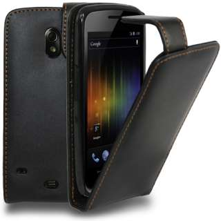 Black Flip Leather Case Cover For Samsung Galaxy Nexus i9250 + Screen