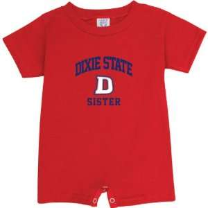 Dixie State Red Storm Red Sister Arch Baby Romper: Sports