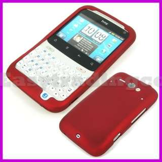 Red Hard Rubberized Case Cover HTC ChaCha Cha Cha A810E