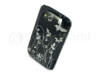 BLACK BUTTERFLY DESIGN CASE COVER FOR HTC WILDFIRE S