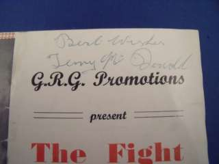 Terry McDonald Johnny Mann SIGNED BOXING PROGRAMME 1955