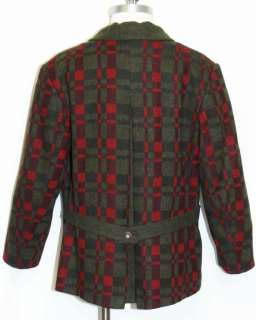 BOILED WOOL ~ DARK RED & GREEN German Women Winter SWEATER Jacket Coat