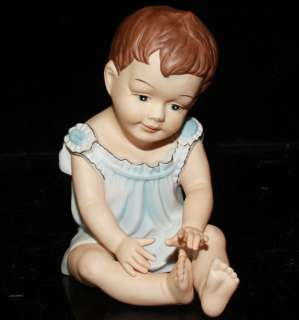 LG Vintage old bisque Porcelain Baby Piano Doll figurine Germany boy
