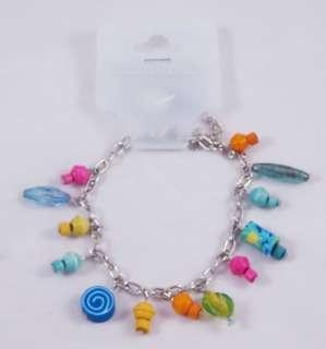 12 New Silvertone Charm Bracelets Fimo Charms #B1095