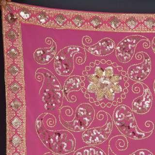 Rose Indien Sari Saree Ventre Danse ROBE Stoff KAFTAN 3
