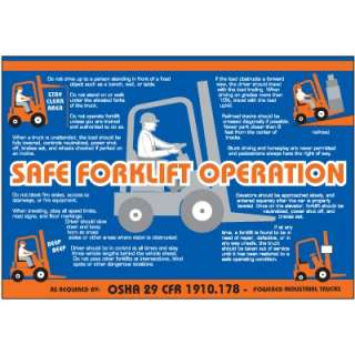 Safe forklift operation wallcharts show employees how to safely use