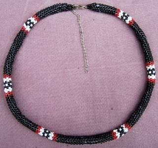 NATIVE PEYOTE STITCH LOOP BEADED NECKLACE BLACK