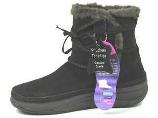 SKECHERS TONE UPS SNOW DAY SUEDE FUR TONING FITNESS WINTER ANKLE BOOTS