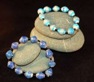 Two blue FairTrade Recycled paper bead bracelets: Bracelets