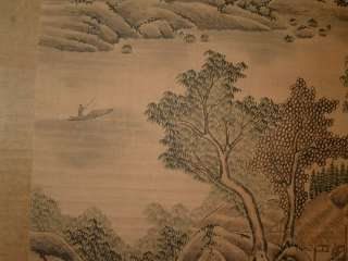 Chinese beautiful landscape scroll painting by Tang Yin