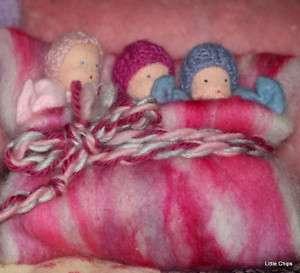 WALDORF STEINER x3 LITTLE BABY SACK DOLLS IN FLEECE BED