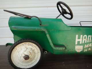 1950s HAMILTON MATERIAL HAULER TRUCK GREEN PEDAL CAR TOY RIDE ON