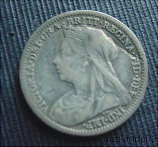 1899 GREAT BRITAIN 3 PENCE SILVER COIN with QUEEN VICTORIA