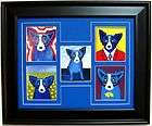 FRAMED GEORGE RODRIGUE BLUE DOG NOTE CARD COLLAGE   17.5 x14.5