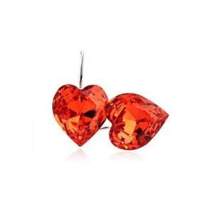 Perfect Gift   High Quality Lovely Peach Heart Earrings with Orange