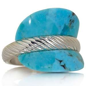 King Kingman Turquoise Sterling Silver Ribbed Saddle Ring at HSN